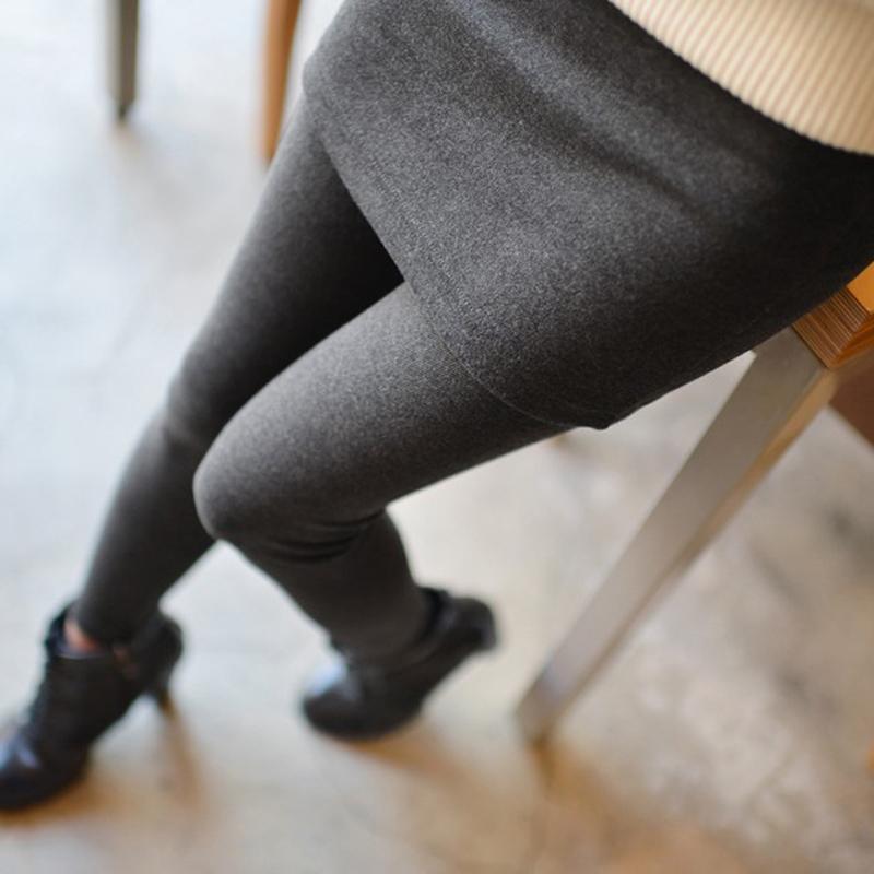 彭曼2014秋冬韩版修身加绒加厚假两件包臀打底裤外穿百褶裙裤长裤