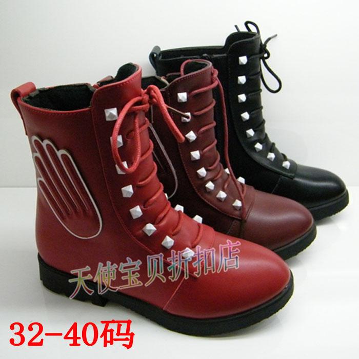 永兴达女童靴2014新款短靴子大童马丁靴儿童雪地靴棉靴38 39码40