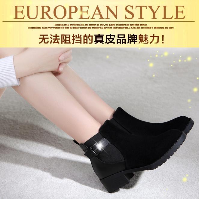 2014新款头层牛皮中跟粗跟短靴防水台真皮马丁靴骑士靴子小短靴女
