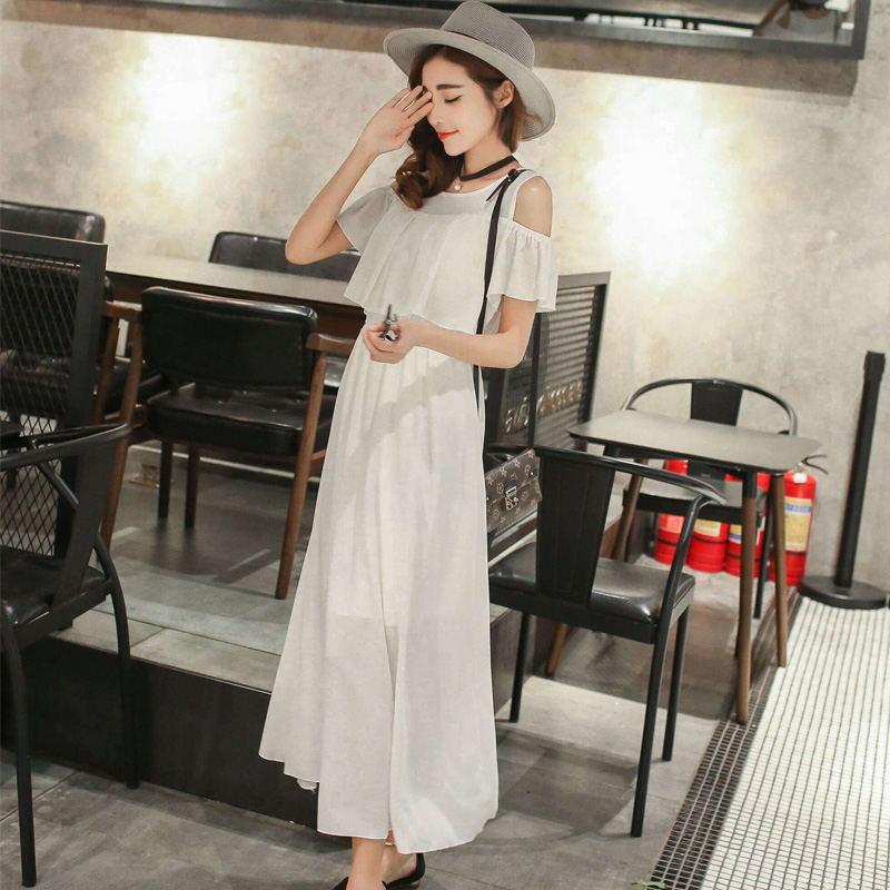 2017夏季韩版雪纺连衣裙长裙学生甜美中长款女装波西米亚露肩裙子