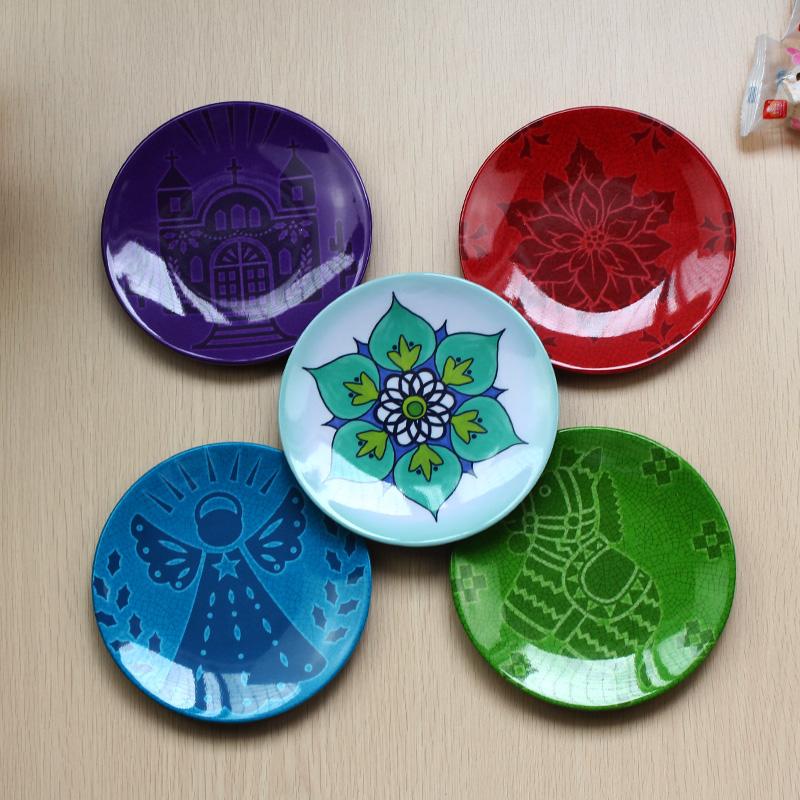 创意仿瓷动漫小碟密胺家用骨头碟实惠耐摔塑料圆形小吃甜点碟子