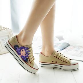 2015帆布鞋女春布鞋女士休闲鞋夏学生平底厚底潮夏天夏款手绘FBX