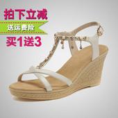 时尚 1613073 甜美水钻链子坡跟高跟女凉鞋 2016夏季新款 戈美其凉鞋