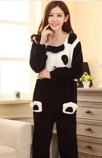法兰绒可爱卡通熊猫加厚长袖睡衣少女士秋冬季学生个性套装家居服