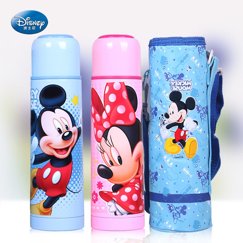迪士尼保温杯正品儿童子弹头不锈钢水壶米奇防漏保温壶水杯送杯套