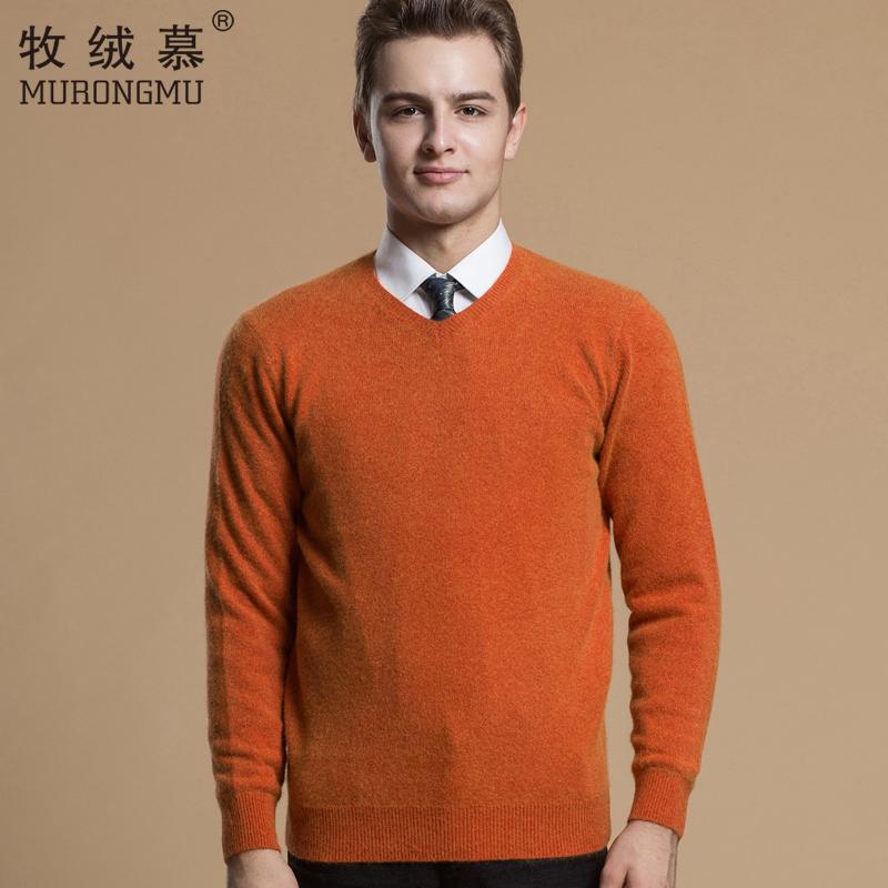牧绒慕新款男士羊绒衫V领加厚毛衣纯山羊绒男款中年商务针织毛衫