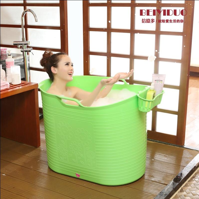 泡澡桶 成人浴盆 儿童塑料洗澡盆 沐浴木桶 洗澡桶加厚保暖可坐