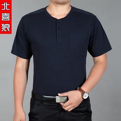 [两件119] 夏季新款中老年圆领短袖体恤男 加大码休闲男 半袖T恤衫爸爸装