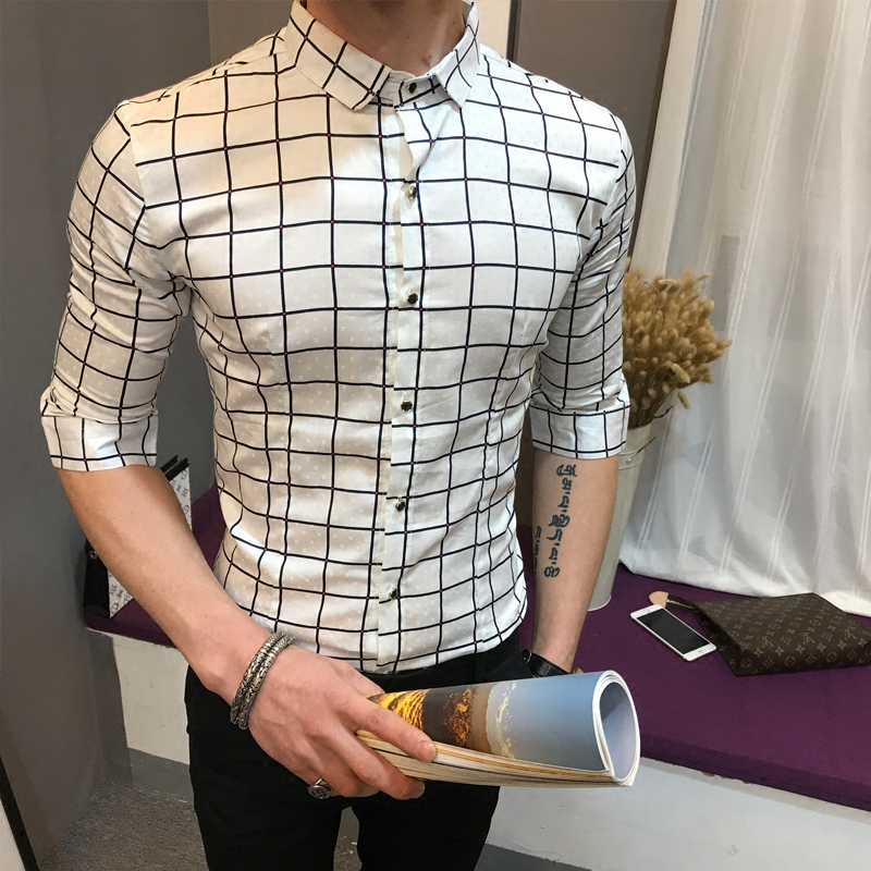 潮男新款修身短袖衬衫青少年韩版中袖寸衫男装夏五分袖格子衬衣