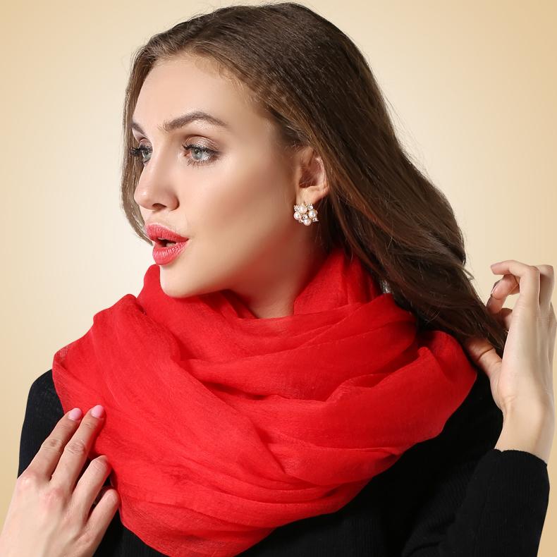 韵歌300支戒指绒纯羊绒 欧美秋冬纯色超长两用 羊绒围巾 女 披肩
