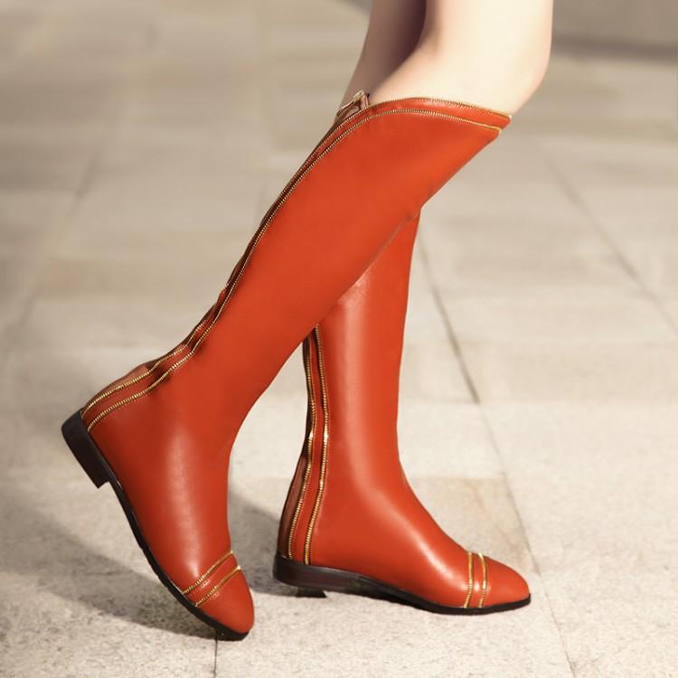 2014秋冬韩版真皮高筒靴平跟骑士靴拉链圆头牛皮女靴子牛筋底