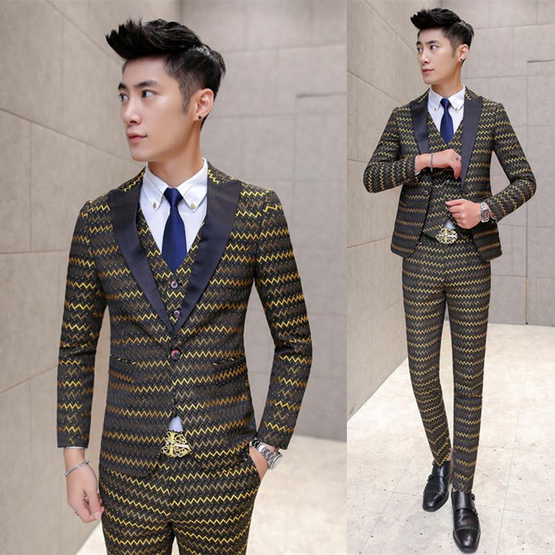 韩版修身西服套装 结婚礼服西装三件套 黄条A470-1-TZ69-P285