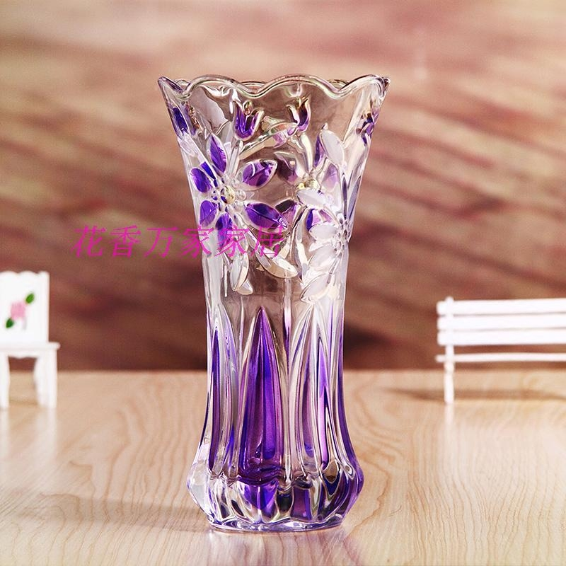 包邮时尚简约鲜花彩色diy水晶花瓶现代欧式透明玻璃