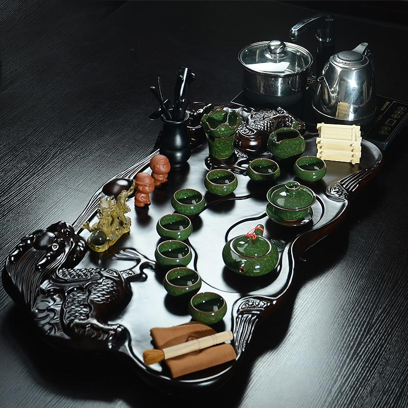 茶具套装整套陶瓷冰裂汝窑功夫茶具宜兴紫砂电磁炉四合一茶盘包邮