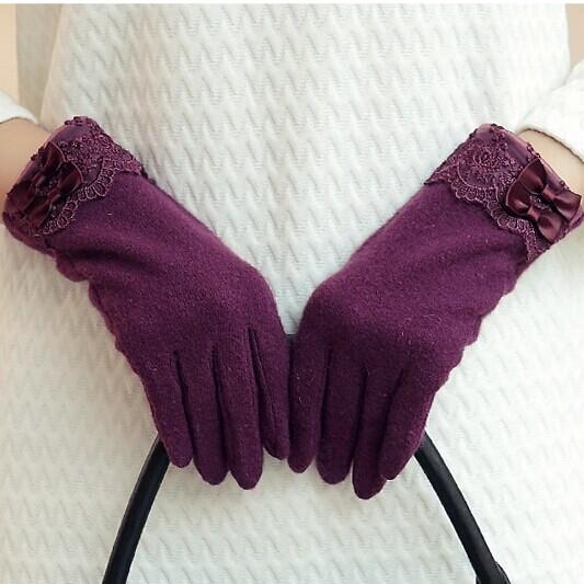 布塔正品店 秋冬气质女保暖触摸屏韩可爱蝴蝶结加绒全指羊毛手套