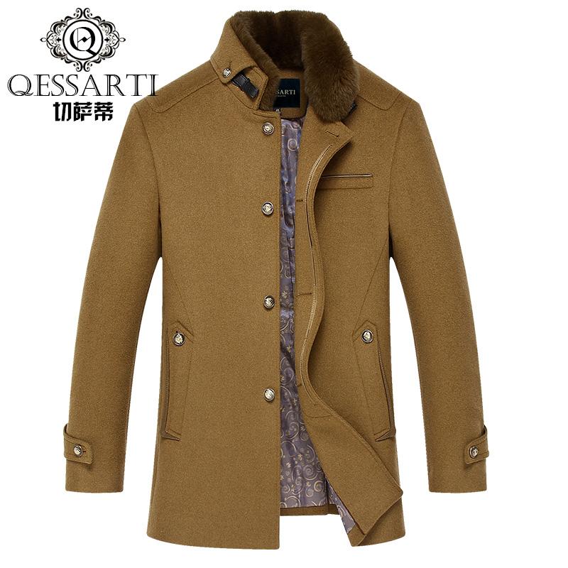 切萨蒂秋季新款男士立领羊毛呢风衣 单排扣英伦时尚羊毛外套大衣