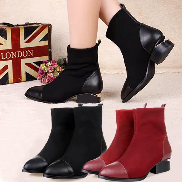 秋季真皮女鞋 英伦风中跟短靴马丁裸靴 冬季女靴女士弹力靴子33码