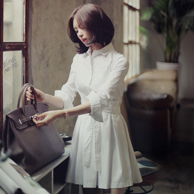 2015春装新款韩版气质森女长袖衬衫裙中长款立领收腰衬衣连衣裙女