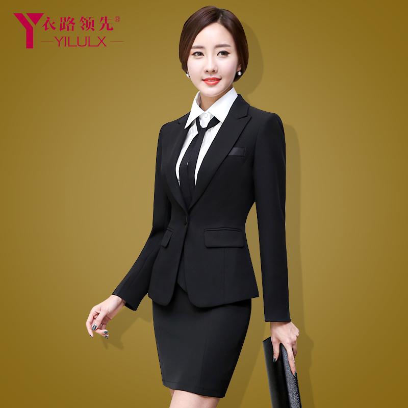OL职业装女装套装正装工作服女裤西服套装三件套黑色西装工装春秋