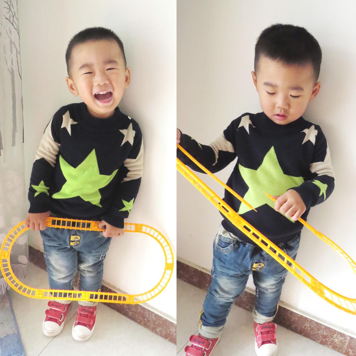 童装2014冬装新款男童羊绒衫加厚加绒打底衫宝宝儿童星星毛衣韩版