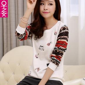 2015新款韩版长袖圆领套头加绒加厚卫衣外套女士宽松大码上衣