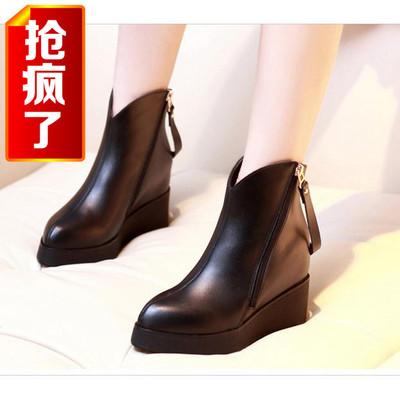 [新品促销] 秋冬新款真皮坡跟短靴高跟防水台内增高及裸靴单靴女鞋女靴罗马靴