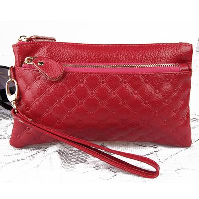 女士钱包韩版手拿包购物零钱包女拉链手腕手机包牛皮真皮女包钱夹