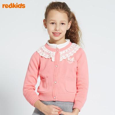 红孩儿童装女童毛衣开衫 秋冬款儿童纯棉毛线针织开衫