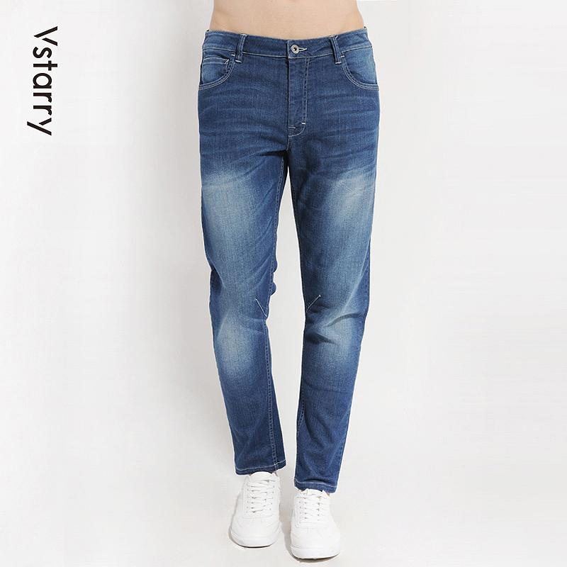 個性休閑韓版顯潮流彈力褲子青年修身瘦長春季牛仔褲