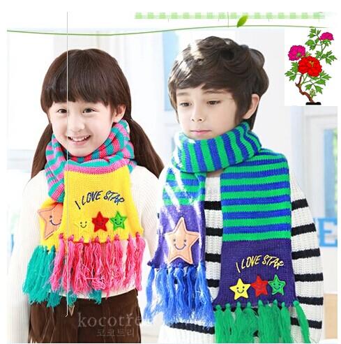 树韩国男女童秋冬天毛线针织围巾可爱宝宝围脖保暖必备儿童围巾