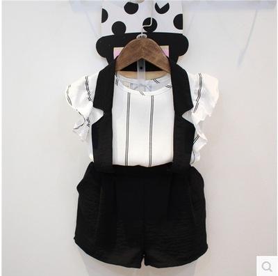 套装背带裤 涂巴兔女童套装背心条纹