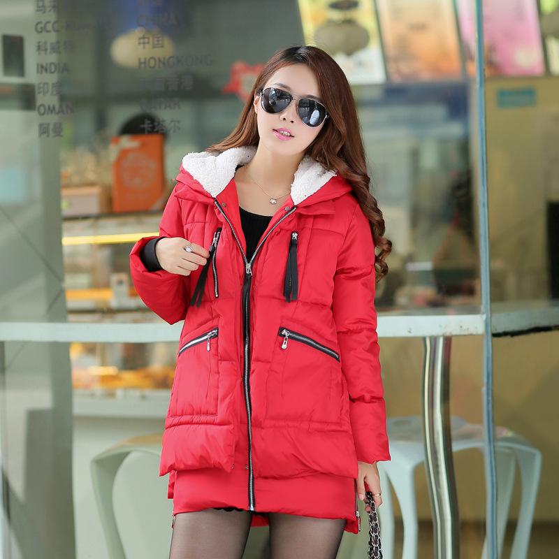冬装新款女韩版大码连帽羽绒棉衣女中长款军工装棉衣女加厚外套