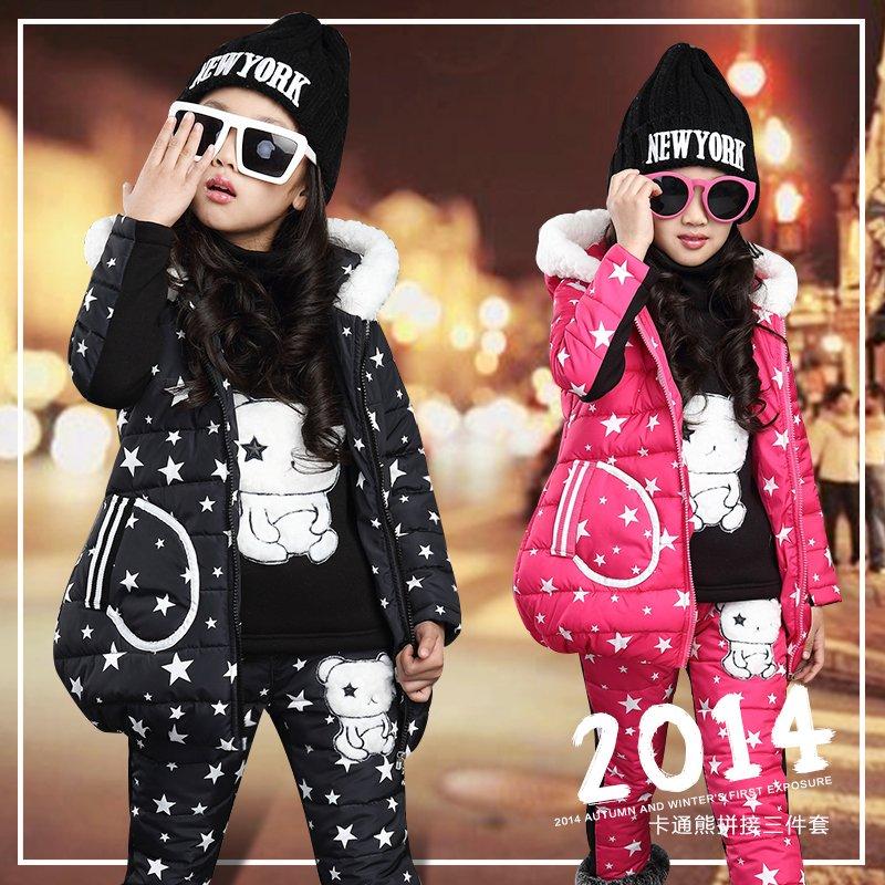 潮中大童女装冬装儿童装13岁女童羽绒棉衣套装宝宝卫衣三件套加厚