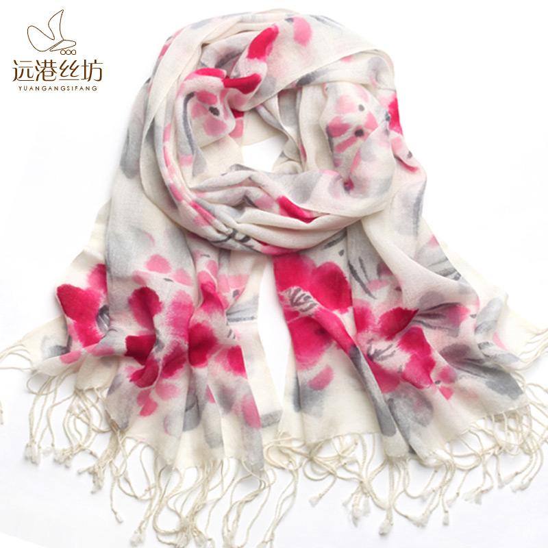 远港丝坊 新款2014围巾女 羊毛披肩围巾两用 唯美中国风手绘