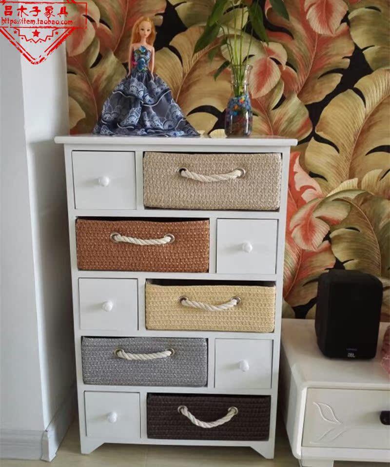欧式田园实木床头柜现代卧室简约床边柜藤编收纳柜储