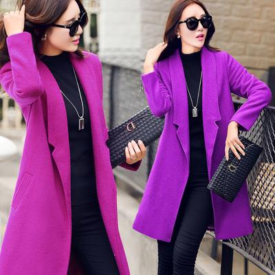 [新年价] 毛呢外套女2015秋冬上新韩版毛呢大衣修身中长款H型呢子外套简约