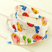 婴儿口水巾纯棉双层按扣三角巾宝宝春方头巾新生婴儿围嘴兜批图片