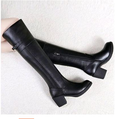 【天天特价】正品2014秋冬新款 真皮粗跟松糕厚底 高筒过膝长靴子