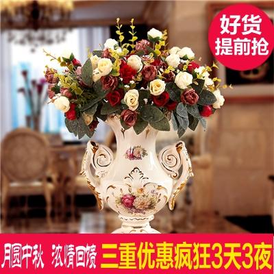 欧式复古奢华描金陶瓷花瓶客厅玄关仿真花瓶台面装