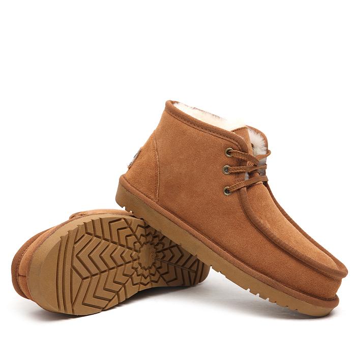 冬季皮毛一体磨砂牛皮加厚羊毛系带雪地靴情侣款男女棉鞋保暖短靴