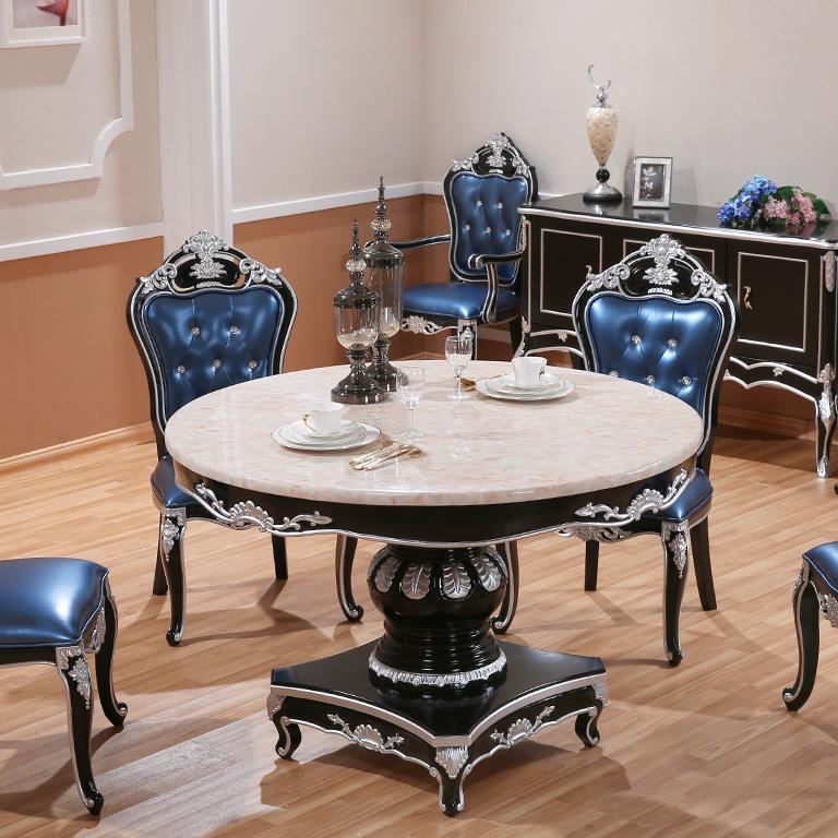 欧式大理石餐桌 实木餐桌椅组合