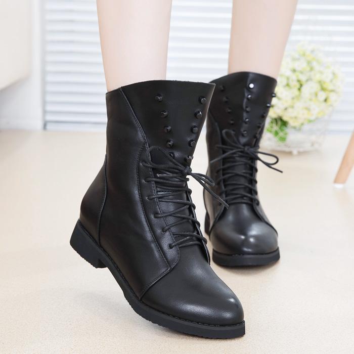 春秋休闲真皮女靴头层牛皮平底短靴女圆头短筒马丁靴平跟女款皮靴
