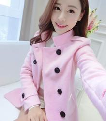 2015秋冬季新款毛呢外套女中长款小香风韩版呢子大衣学生妮子修身