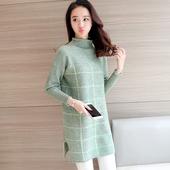 韩版女装 修身菱形复古格子打底套头毛衣 冬季女士中领时尚针织衫