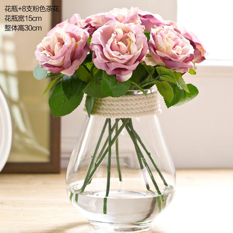 玻璃欧式客厅透明落地花器小花瓶摆件