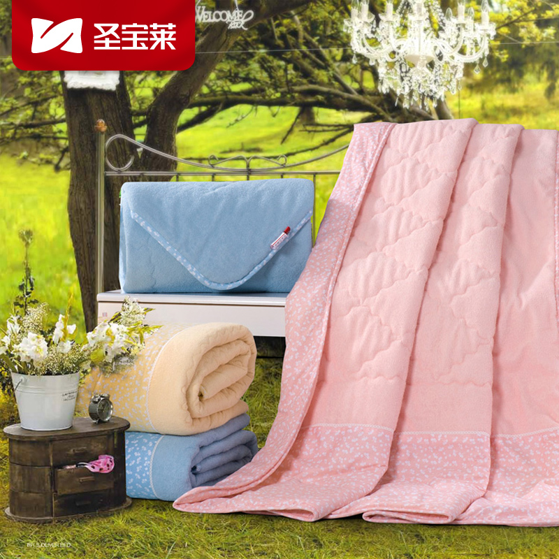 圣宝莱家纺 纯棉毛巾被单人毛巾毯 双人毛巾被 加厚儿童被毯子