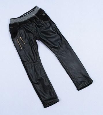 特E3 KG132:韩善家黑色PU牛仔拼接款加绒长裤