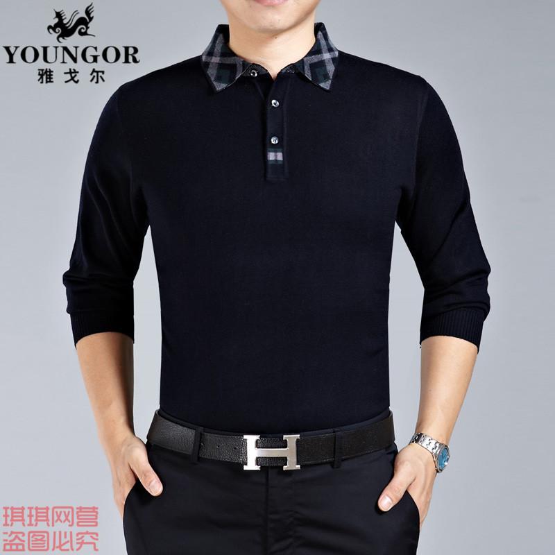 2014春季正品新款雅戈尔商务休闲T恤长袖衬衫领男装修身韩版t恤衫