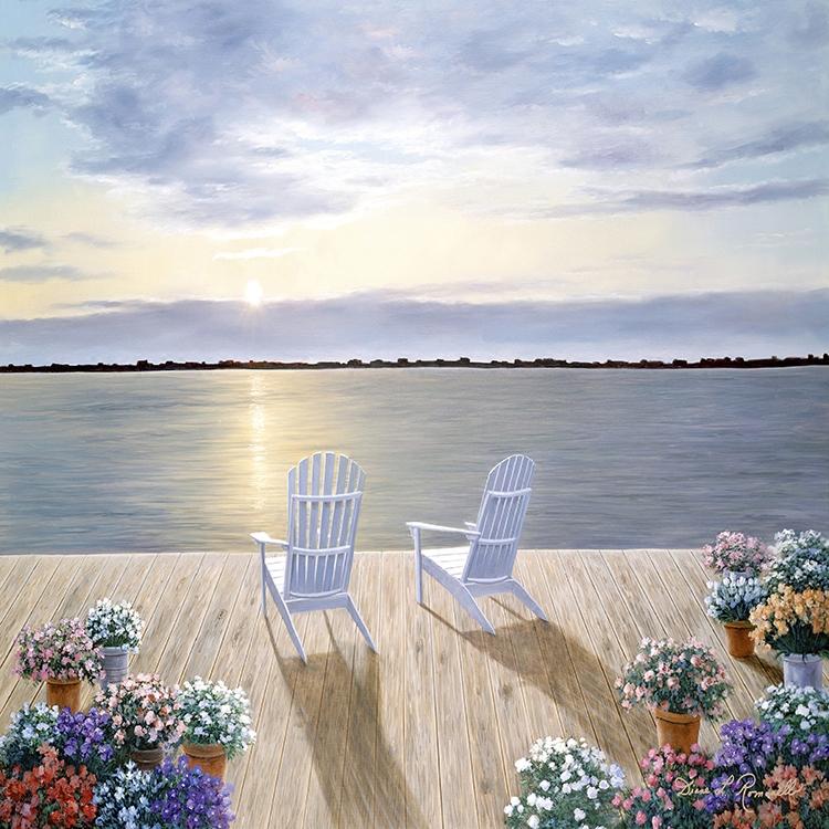 北欧风格日出风景海景海边装饰画画心画布进口喷绘画芯春暖花开