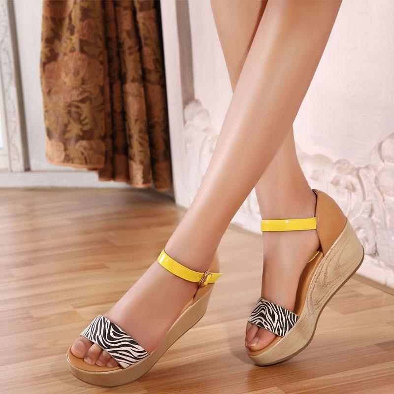 特价清仓2014夏新款女鞋女凉鞋真皮厚底防水台松糕坡跟女凉鞋包邮